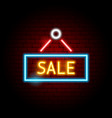 sale neon sign vector image vector image