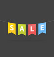 sale word on pennants on rope vector image vector image