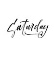 saturday phrase brush style modern calligraphy vector image vector image