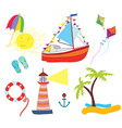 Sea icons set funny vector image vector image