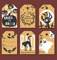 set happy halloween gift tags vector image