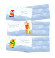 set of winter seasonal theme business cards vector image