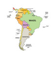 south america political map map with name vector image