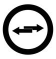 two side arrows icon black color in circle vector image