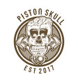 vintage skull with crossed piston vector image vector image