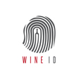 wine id concept with wine bottle and fingerprint vector image