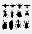 Insect bug small animal silhouette 2 vector image