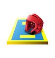 3d colorful taekwondo tatami mat and red helmet vector image