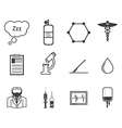 Black icons for anesthesiology vector image vector image