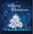 Blue Christmas background with white firs vector image vector image