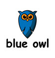 blue cute owl cartoon character logo design vector image
