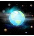 Blue planet against Universe Solar system Earth vector image