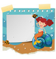 border template with cute mermaid vector image vector image