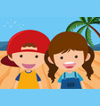 boy and girl on the beach vector image