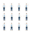 businessman character in various poses flat design vector image