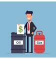 Businessman or manager sells a barrel of oil and vector image