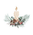 christmas decoration with fir branches candle vector image