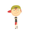 cool smiling cartoon boy playing with a ball kids vector image vector image