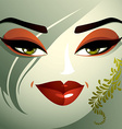 Cosmetology theme image Young pretty lady with vector image vector image