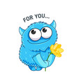 cute little monster with a flower sticker vector image