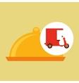 delivering motorcycle food platter vector image vector image