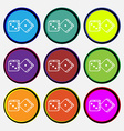 dices icon sign Nine multi colored round buttons vector image