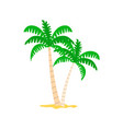 exotic plant palm tree in sand papercard vector image