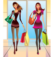Fashion girls with new purchases vector image vector image