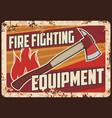 fire fighting equipment rusty metal plate vector image vector image