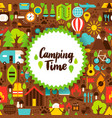 flat camping time postcard vector image vector image