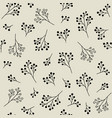 floral monochrome seamless pattern with berries vector image vector image