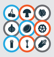 fruit icons set with bulb cauliflower mushroom vector image