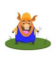 funny pig builder profession builder cartoon vector image