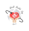 globe signhuman hand and stethoscope icon with vector image vector image