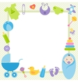 green frame with baby boy elements vector image vector image