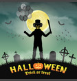halloween spooky clown in a night graveyard vector image vector image