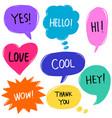 hand drawn set colorful speech bubbles vector image