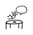 hand drawn stick figure jumping on trampoline vector image vector image