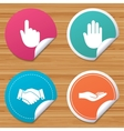 Hand icons Handshake and click here symbols vector image vector image