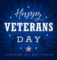 happy veterans day usa star ribbon stripes vector image