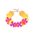 hawaiian lei with bright colorful flowers vector image