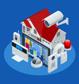 isometric alarm system home home security vector image vector image