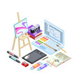 isometric stationery and drawing tools isolated on vector image