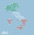 Italy map with city names vector image vector image