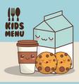 kids menu milk cookies vector image