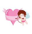love cute cupid with arrow romantic heart cartoon vector image