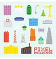 Pixel art isolated buildings set vector image vector image