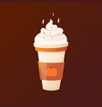 pumpkin latte with cream in a cup vector image vector image