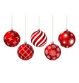 red christmas balls with different patterns vector image vector image