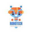 robotech logo design badge with friendly robot vector image vector image